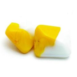 Glaskraal, rechthoek met 'twist', geel/wit, 18 x 15 mm (5 st.)