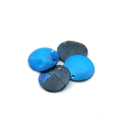 Schelpbedels, blauw, 15 mm (17 gr.)