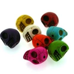 Gekleurd Turquoise kraal, skull, mix, 18 mm (5 st.)