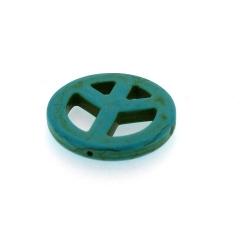 Halfedelsteen kraal, Turquoise kraal, Peace teken, 36 mm (3 st.)
