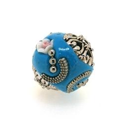 Kashmiri kraal, rond, roosje, turquoise, 18 mm (3 st.)