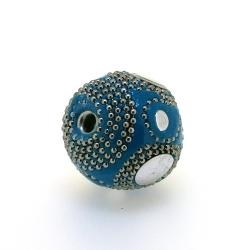 Kashmiri kraal, rond, turquoise, groot rijggat, 26 mm (1 st.)