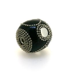 Kashmiri kraal, rond, zwart, groot rijggat, 26 mm (1 st.)