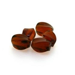 Glaskraal, rechthoek met swirl, bruin, 14 x 8 mm (streng)