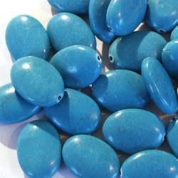 Halfedelsteen kraal, chinese elliptic Turquoise, 18 mm (streng)