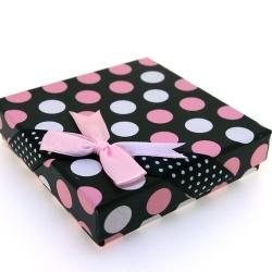 Sieradendoosje, vierkant, zwart, roze/witte stip, 9 cm (1 st.)