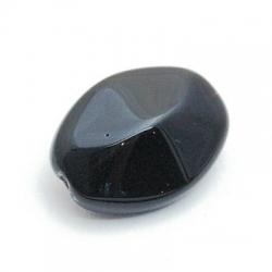Glaskraal, ovaal, zwart, 22 mm (4 st.)