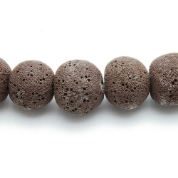Lava kraal, rond, zwart, 26 mm (3 st.)