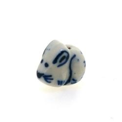 Keramiek kraal, dieren, mix, Delfts blauw, ca. 16 mm (5 st.)