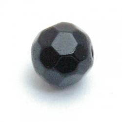 Glaskraal, rond met facetten, zwart, 8 mm (10 st.)