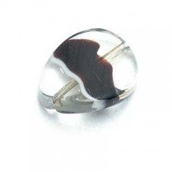Glaskraal, ovaal met een 'twist', transp./zwart, 20x15mm (5 st.)