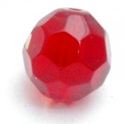 Glaskraal, rond met facetten, rood, 12 mm (5 st.)