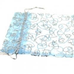 Organzazakjes, lichtblauw/zilver, 12 x 10 cm (5 st.)