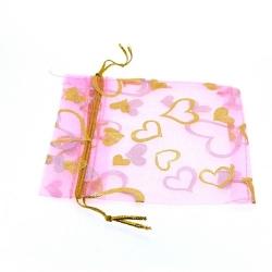 Organzazakjes, roze/goud, 10,5 x 9,5 cm (5 st.)