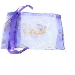 Organzazakjes, paars/goud, vlinder, 8,5 x 7 cm (5 st.)
