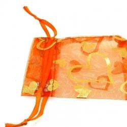 Organzazakjes, oranje/goud, hart, 8,5 x 7 cm (5 st.)