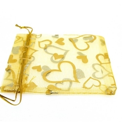 Organzazakjes, goud, hart, 12 x 10 cm (5 st.)