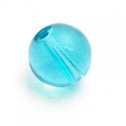 Glaskraal, rond, blauw, 14 mm (5 st.)