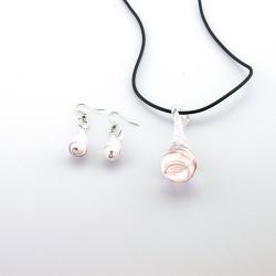Glashanger aan veterketting met bijpassende oorbellen, druppel (1 set)