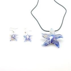 Glashanger aan veterketting met bijpassende oorbellen, zeester blauw (1 set)