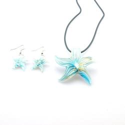 Glashanger aan veterketting met bijpassende oorbellen, zeester turquoise (1 set)