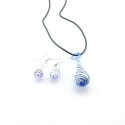 Glashanger aan veterketting met bijpassende oorbellen, druppel, blauw (1 set)