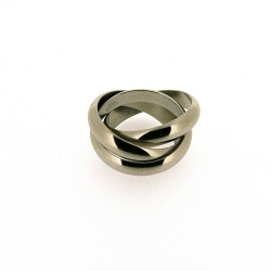 3 in 1 ring, edelstaal, glans, maat 22