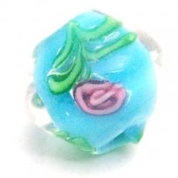 Glaskraal, tolletje, turquoise met roosje, 12 mm (5 st.)