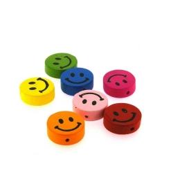 Houten kraal, Mix, rond, smile, 17 mm (7 st.)