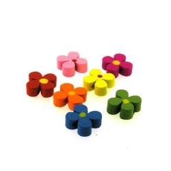 Houten kraal, Mix, bloemetje, 13 mm (7 st.)