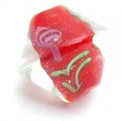 Glaskraal, tolletje, rood met roosje, 12 mm (5 st.)