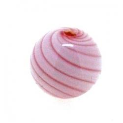 Mondgeblazen holle glaskraal, rond, wit/rood, 13 mm (1 st.)