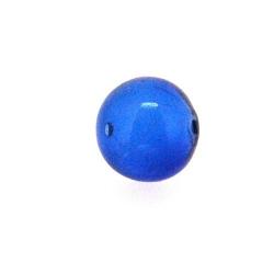Mondgeblazen holle glaskraal, rond, blauw, 13 mm (1 st.)