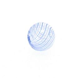 Mondgeblazen holle glaskraal, rond, lichtblauw/wit, 13 mm (1 st.)