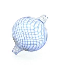 Mondgeblazen holle glaskraal, rond, blauw, 26 mm (1 st.)