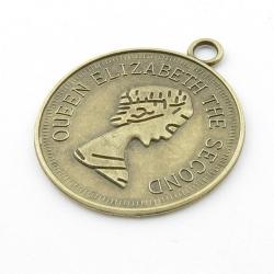 Metaal, hanger, munt, antique goud, 58 mm (1 st.)