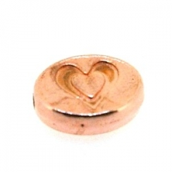 Metalen kraal, ovaal, 'love', ros goud, 10 x 8 mm (5 st.)