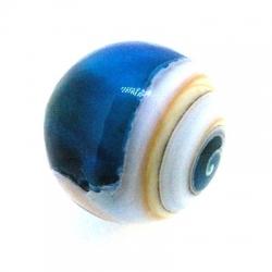 Geperste schelp kraal rond blauw 18 mm (3 st.)
