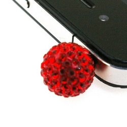 Pimpin glitterbal voor mobiele telefoon, rood, 14 mm (1 st.)