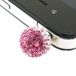 Pimpin glitterbal voor mobiele telefoon, crystal/roze, 14 mm (1 st.)