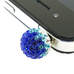 Pimpin glitterbal voor mobiele telefoon, crystal/donkerblauw/turquoise, 14 mm (1 st.)
