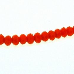 Glaskraal, donut met facetten, oranje, 3 x 4 mm (1 streng)