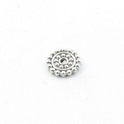 Metaal, schijfje, zilver, 2 x 12 mm (5 st.)