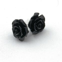 Oorstekers, roos, zwart, 14 mm (1 paar)