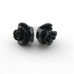 Oorstekers, roos, zwart, 12 mm (1 paar)