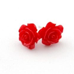 Oorstekers, roos, rood, 14 mm (1 paar)