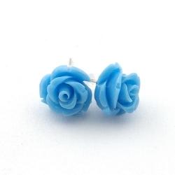 Oorstekers, roos, babyblauw, 12 mm (1 paar)