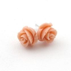 Oorstekers, roos, nude, 12 mm (1 paar)