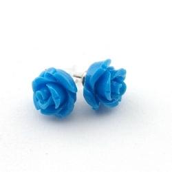 Oorstekers, roos, kobaltblauw, 12 mm (1 paar)