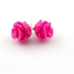 Oorstekers, roos, fuchsia, 12 mm (1 paar)